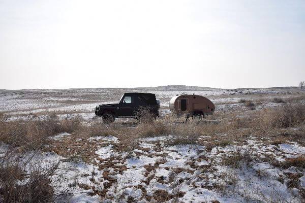 Winter Teardrop Trailer in Kazakhstan